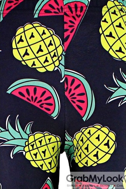 2514a18e5c Navy Blue Watermelon Pineapple Skinny Long Yoga Pants Tights Leggings