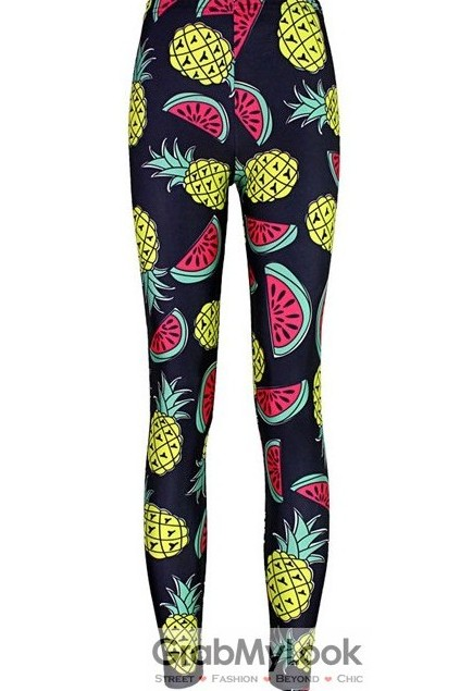 45f1efe98b Navy Blue Watermelon Pineapple Skinny Long Yoga Pants Tights ...