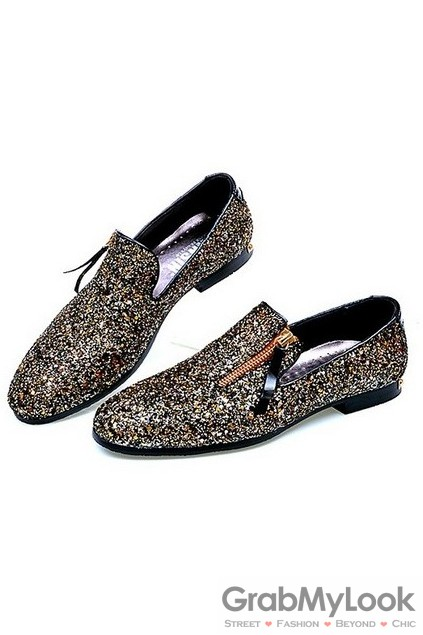 5dfe677d813f Gillter Sparkle Gold Black Mens Loafers Dress Shoes Flats