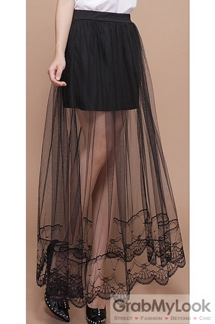 Lace Sheer Mesh Crochet Black Sexy Long Maxi Dress Mini Skirt