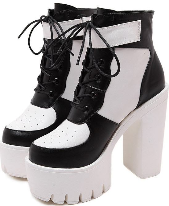b5e9cf988d3982 Black White Leather Lace Up Gothic Punk Rock Thick Chunky Sole ...
