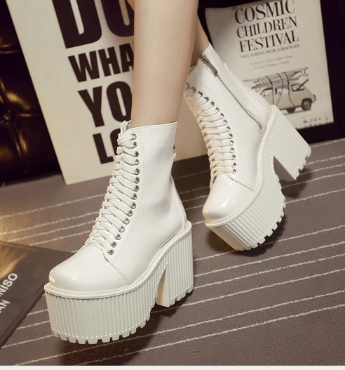 b09730c31f3 Black White Platforms Lace Up High Top Chunky Heels Gothic Punk Rock Boots  Shoes