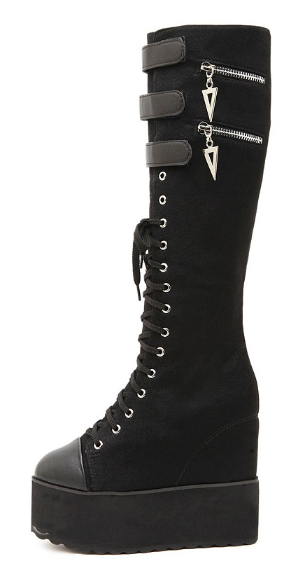 dbe863c0756 Black Lace Up Punk Rock Gothic Grunge Platforms Wedges Long Knee Sneakers  Boots