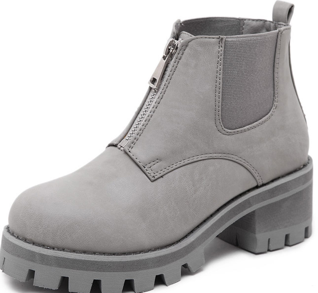 ad48cd675e6 Grey Leather Metal Zipper Punk Rock Military Chunky Heel Platforms Ankle  Boots Shoes