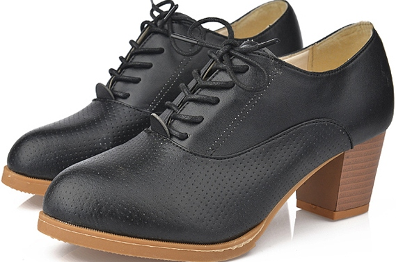 1a44067b2aad Black Leather Old School Oxfords Lace Up High Heels Ankle Boots ...