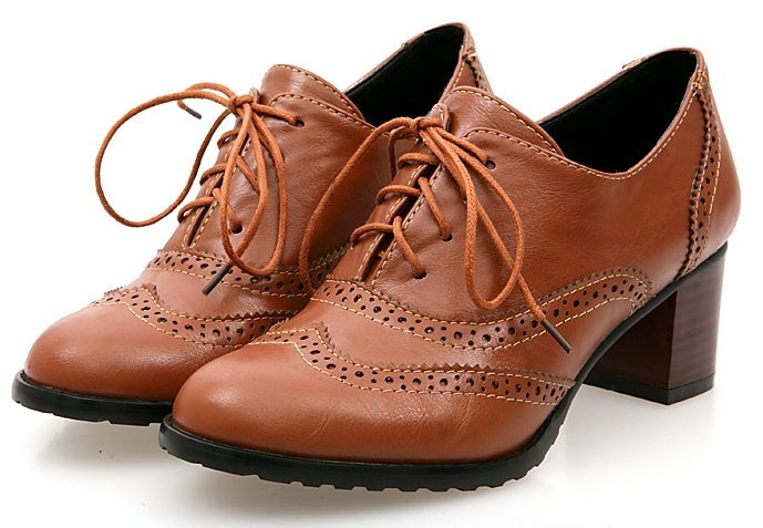 50cb48e5c667  Black Brown Cream Old School Oxfords Lace Up High Heels Ankle Boots Booties  Shoes