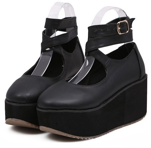 b566fc2bb34c5  Black Ankle Cross Straps Platforms Harajuku Punk Rock Gothic Flats Shoes