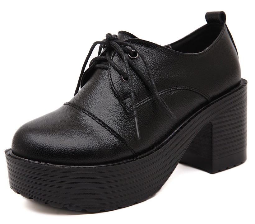 3a0f1a88895 Lace Up Black Old School Vintage Platforms Oxfords Chunky Boots Shoes