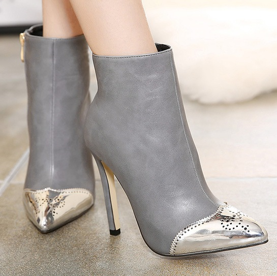 Put Exercise Cook  Silver Tip Grey Suede Stiletto High Heels Point Head Ankle Boots Women Shoes