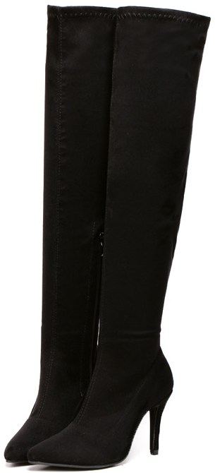 Black Faux Suede Leather Stretchy Over