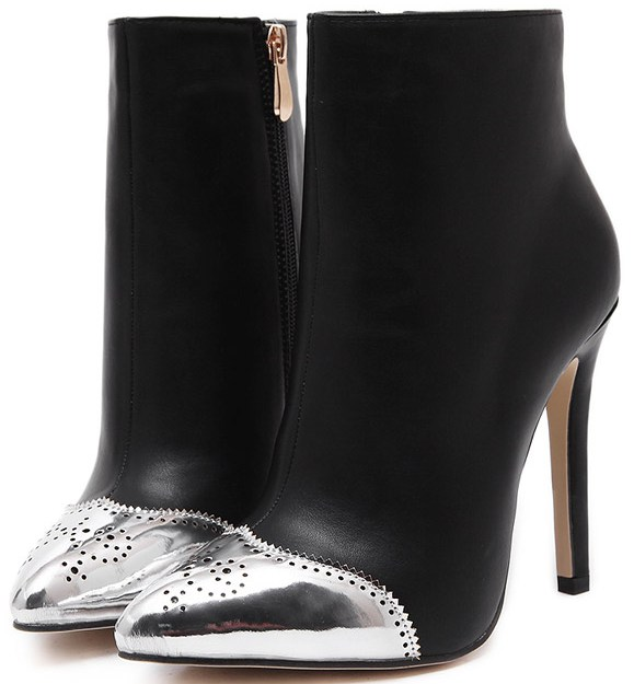 3f1a7f9636f Silver Tip Black Suede Stiletto High Heels Point Head Ankle Boots Women  Shoes
