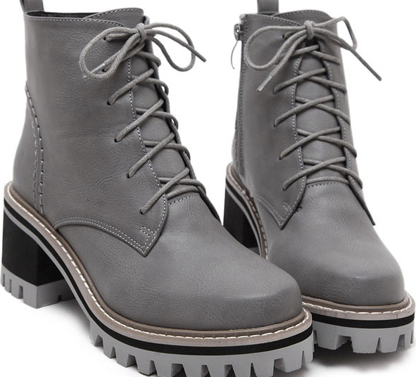 7f3acac0359 Grey Leather Lace Up High Top Chunky Sole Punk Rock Military Combat Boots  Women Shoes