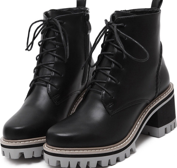 0f736c8e7f7 Black Leather Lace Up High Top Chunky Sole Punk Rock Military Combat Boots  Women Shoes