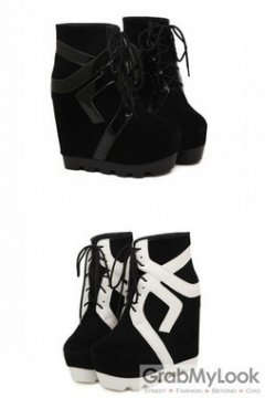 1a36b8d45249 Suede Leather Black White Lace Up Punk Ro.