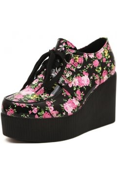 4378e6139bcd Black Pink Flower Roses Lace Up Creepers Platforms Wedges Gothic Grunge  Women Shoes Heels