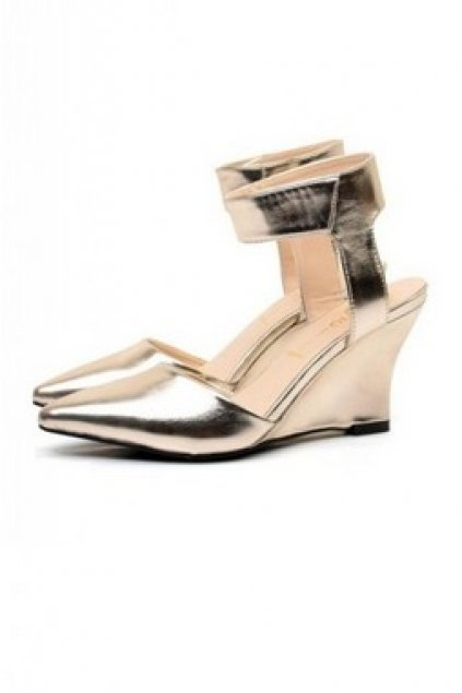 52148054bee4 Shoes    Wedges    Gold Faux Leather Ankle Strap Wedges Platforms ...