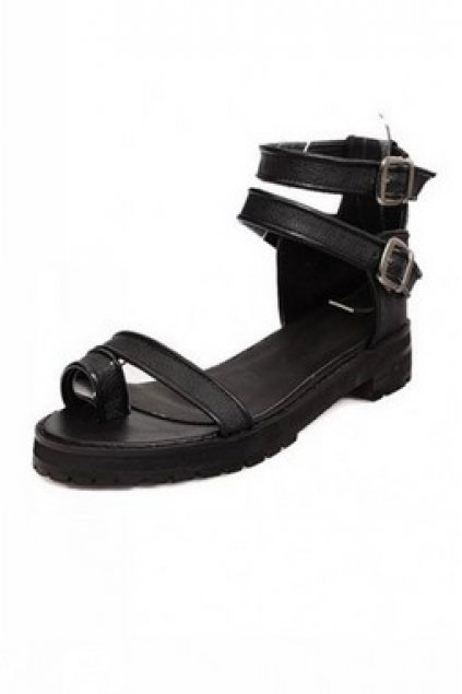 c99f97cac Shoes    Sandals    Double Leather Ankle Strap Thumb Strap Flats Sandals