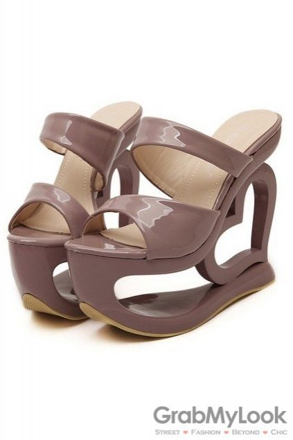 477eafd96122 Shiny Glossy Brown Platforms Wedges Weird High Heart Heels Shoes Sandals