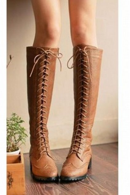 Shoes Boots Faux Leather Lace Up Military Combat