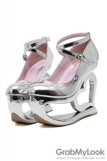 c6678339791 Shiny Metallic Silver Platforms Straps Wedges Weird High Heart Heels Shoes