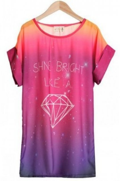6626b096f Apparel :: Shirt :: Shine Bright a Diamond Galaxy Universe Pink Round Neck  Chiffon T-Shirt