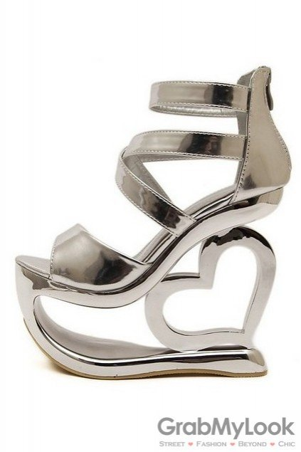 54dcfbcb980 Shiny Silver Platforms Straps Wedges Weird High Heart Heels Shoes Sandals
