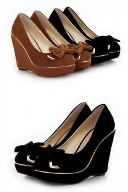 a8b8bcb50e23 Shoes    Wedges    Suede Gold Trim Elegant Bow Wedges Platforms High Heels  Shoes