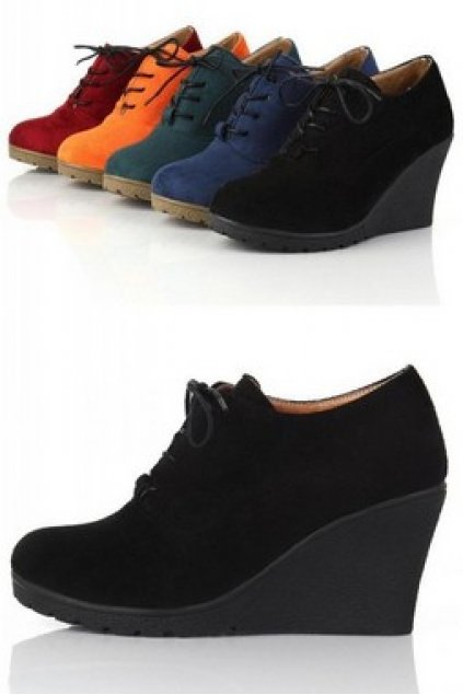 8fe94f3b740 Shoes    Wedges    Suede Faux Leather Wedges Lace Up Shoes Ankle Boots