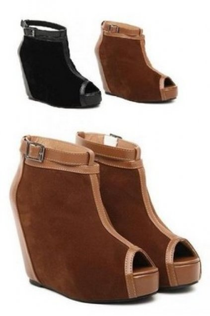 a2706ac39ab3 Shoes    Wedges    Faux Suede Leather Open Toe Platforms High Heels Wedges  Shoes