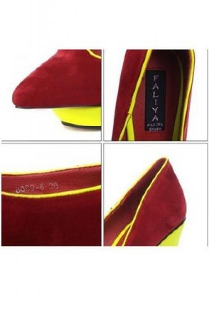 16d494c6c4c9 Neon Wedges Suede Leather Point Head Weird Platforms High Heels Shoes