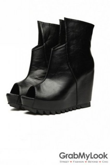 wedge open toe ankle boots