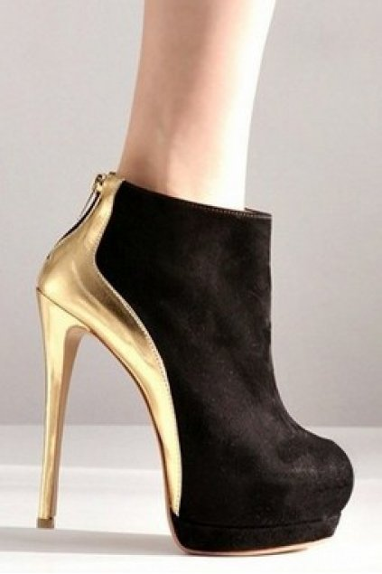 2e3c6895b3ce Shoes    Boots    Gold Black Faux Suede Platforms Stiletto High Heels Ankle  Boots