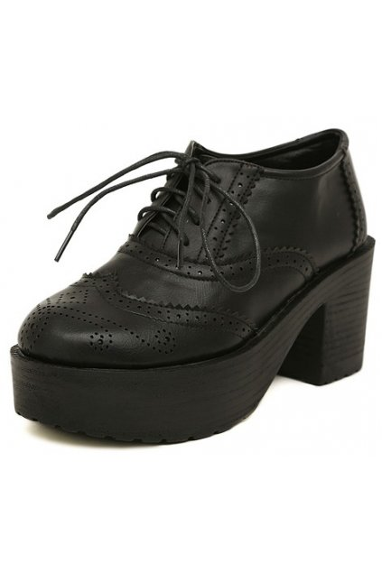 Lace Up Black Old School Vintage Platforms Oxfords Chunky Boots Shoes 0e7847343