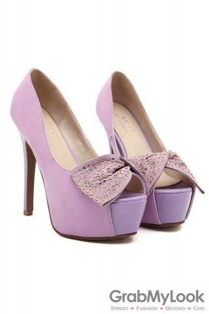 fe89b02fb75 Open Toe Suede Glitter Bow Platforms High Heels Stiletto Shoes