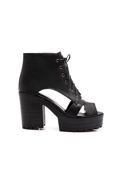 WOMEN'S CHUNKY HIGH Heels Punk Rock Platforms Lace Up Buckle