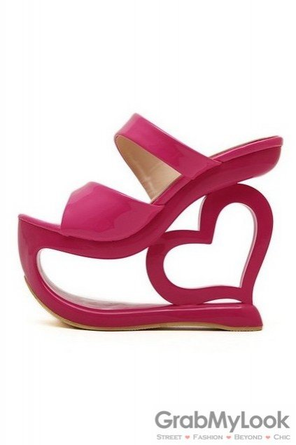 af0169392490 Shiny Glossy Pink Platforms Wedges Weird High Heart Heels Shoes ...