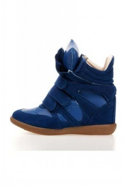 Suede Blue High Top Hidden Wedges Ankle