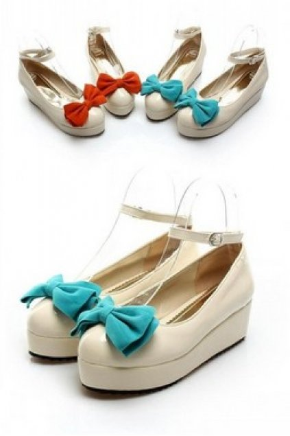 6bcc047f3 Shoes :: Platforms :: Cream Patent Leather Big Color Bow Ankle Strap  Creepers Ballet Plaform Flats