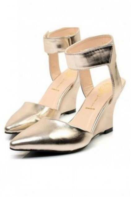 b7fa8d0755a7 Shoes    Wedges    Gold Faux Leather Ankle Strap Wedges Platforms High  Heels Shoes
