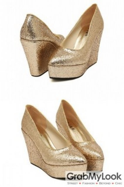 fc73930b622f Shoes    Wedges    Gold Silver Glitter Wedges Platforms High Heels Shoes