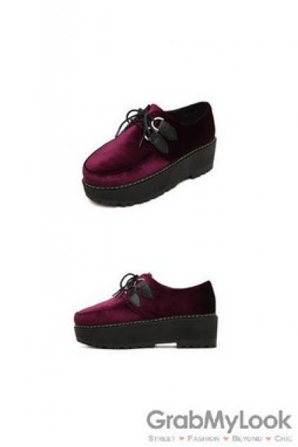 7bae9932024a Shoes    Oxfords    Lace Up Velvet Old School Oxfords Creepers Shoes  Platforms Shoes