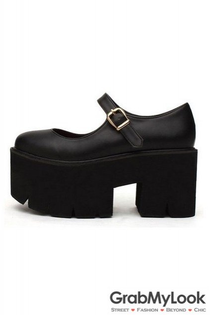 0415077361e Faux Leather Vintage Old School Platform Thick Sole Chunky Oxford Shoes