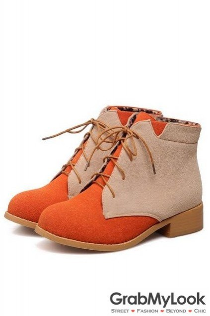 cf74b3a9de56 Suede Color Lace Up Rock Funky Military Ankle Flat Boots