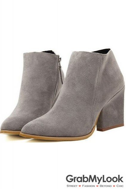Grey Suede Point Head Ankle Womens Boots Shoes Heels