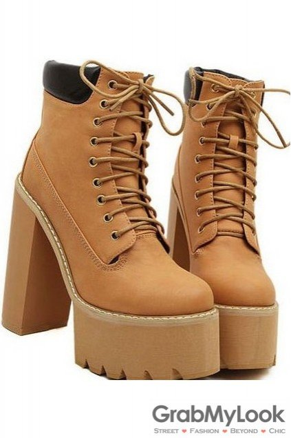 78110bff1cb Black Brown Leather Lace Up Platforms Chunky Sole Heels Ankle Military  Women Boots Shoes