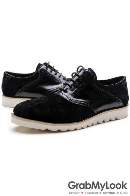 e6cecb21f2 ... Black Patent Suede Leather Lace Up White Sole Mens Oxfords Sneakers  Shoes ...