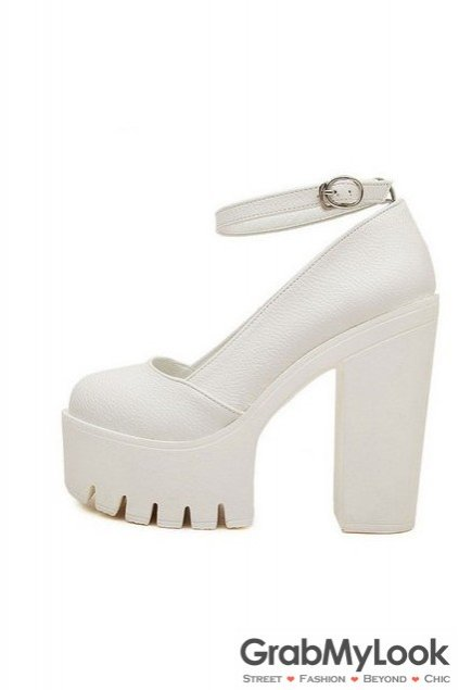 08673348bc5 Round Head Thick White Platforms Sole High Heels Ankle Straps Women Shoes