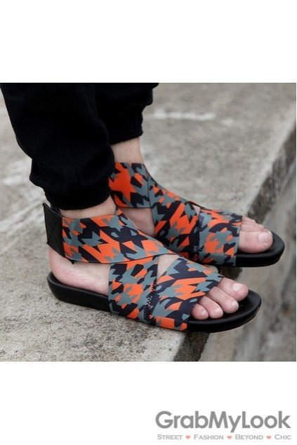 d7c298bd5f9 Orange Camouflage Military Army Elastic Band Cross Straps White Mens  Gladiator Roman Sandals Shoes