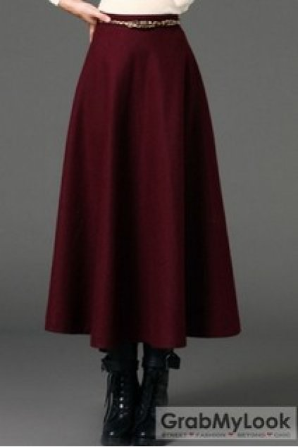 Apparel Skirt Country Vintage A Line Wool Blend Long