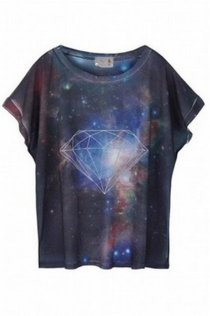 fd45327c4 Apparel :: Shirt :: Diamond Galaxy Universe Blue Round Neck Cotton T-Shirt